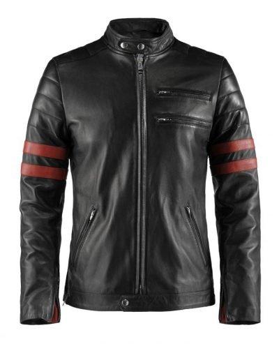 Style Hybrid Cafe Racer Black Leather Jacket