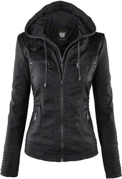 Ladies Hooded Leather Jacket