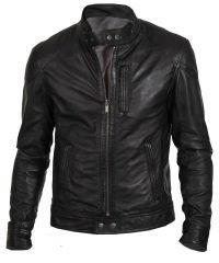Black Hunt Mens Biker Leather Jacket