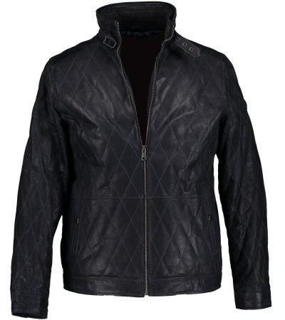 Casual Diamond Stitch Men's Women's Black Leather Jacket