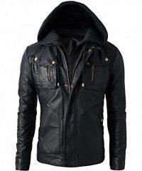 Detach Men's Brando Style Biker Leather Hoodie Jacket