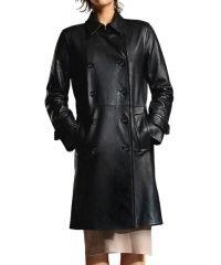 Double Breasted Arrow Juliana Harvey Leather Coat