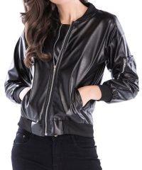 Leather Zip Up Short Faux Jacket