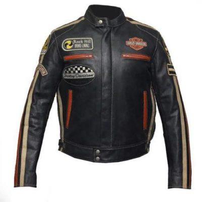 Vintage Biker Harley Davidson Genuine Cowhide Leather Jacket
