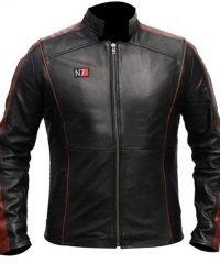 Mens N7 Black Leather Jacket