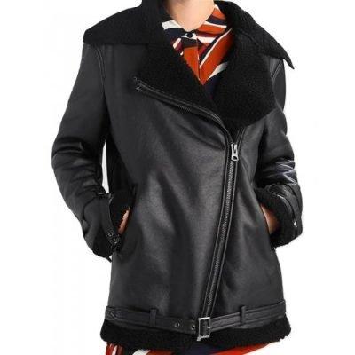 Shearling Aviator Womens Black Leather Jacket