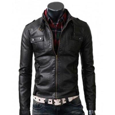 Strap Pocket Slim Fit Vintage Belted Rider Leather Jacket
