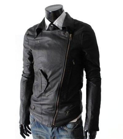 Multi Pocket Rider Men Black Slim Fit Leather Jacket