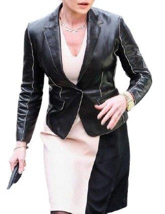 Women's Katherine Heigl Black Real Leather Coat