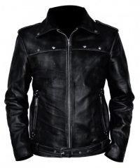 A Long Way Down Aaron Paul (JJ) Belted Biker Black Leather Jacket
