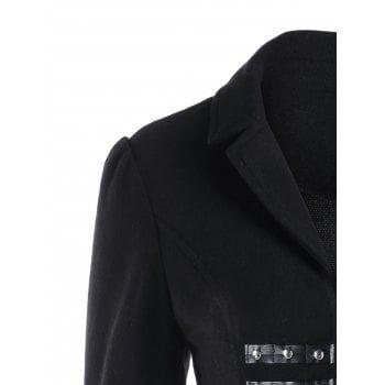 Panel Lace Up Flare Leather Coat