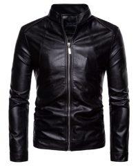 Pure Color Washed PU Black Locomotive Fashion Leather Jacket For Men