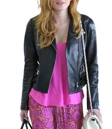 Valentine Day Bella Thorne Black Real Leather Jacket