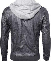 Hooded Slim Fit Black Leather Jacket Men – Biker Jacket