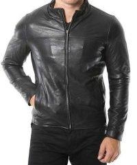 Mens Café Racer Black Real Leather Jacket