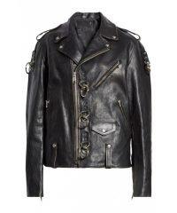 Ring Detail Refurbished Leather Moto Jacket