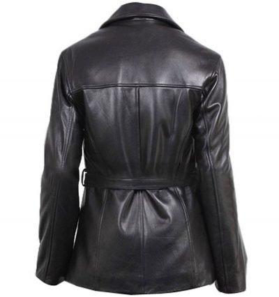 Women Belted Zip Black Leather Coat