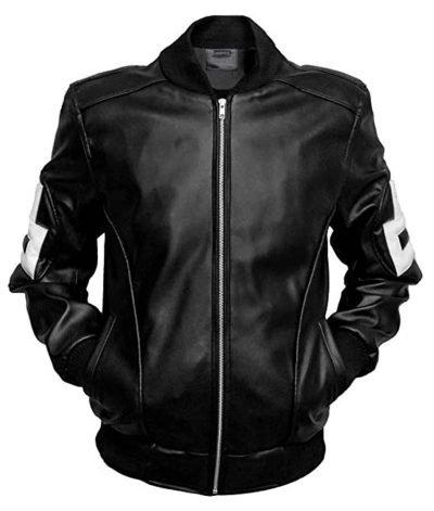 8 Ball Bomber Style Black Leather Jacket