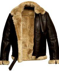 Men's Sheepskin B3 Ginger Fur Shearling Black Leather Jacket