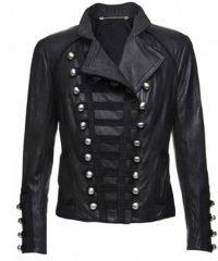 Women Motorcycle Benedetta Military Black Leather Jacket