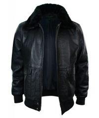 Mens A2 Flight Black Aviator Bomber Leather Jacket