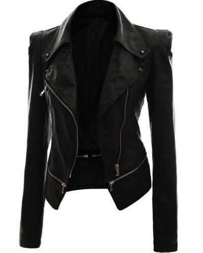 Alabama Women Black Bike Leather Jacket