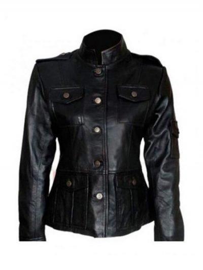 Anne Hathaway Black Leather Jacket