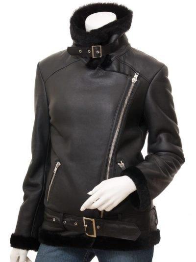 Womens Lambskin Black Shearling Bomber Leather Jacket