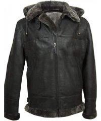 Men's Aviator Flight Fur Shearling B3 Hooded Black Leather Jacket