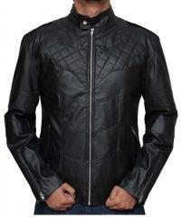 Bat Logo Knight Black Leather Jacket