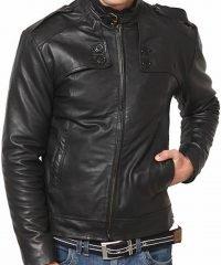 Men Belted Collar Black Fashion Leather Jacket