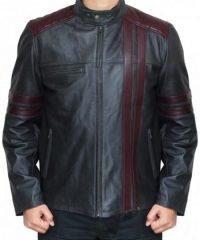 Biker Burgundy Stripes Black Leather Jacket