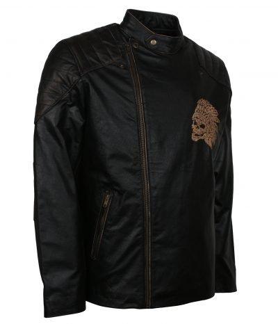 Apache Black Biker Jacket Mens Motorcycle Quilted Biker Leather Jacket