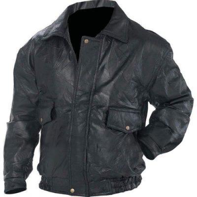 Mens Bomber Flight Coat Motorcycle Black Biker Leather Jacket