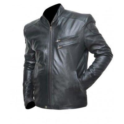 Mens Cafe Racer Vintage Moto Black Shiny Biker Leather Jacket