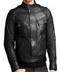 Men Vintage Front Buttoned Closure Biker Black Leather Jacket