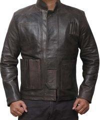 Han Solo Star Wars Force Awakens Fighter Black Leather Jacket
