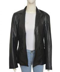 Jennifer Lawrence Joy Black Leather Coat