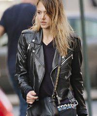 Outerwear Jessica Alba Black Leather Jacket
