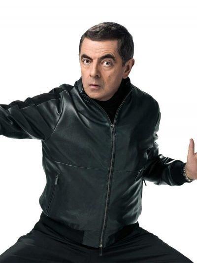 Johnny English Strikes Again Rowan Atkinson Bomber Leather Jacket
