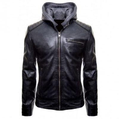 Batman Logo Brando Biker Leather Hoodie Jacket