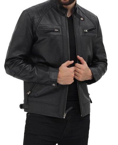 Mens Black Lambskin Biker Leather Jacket