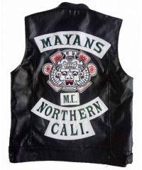 Mayans M.C. Northern Cali JD Pardo (Ezekiel Reyes) Black Biker Leather Vest