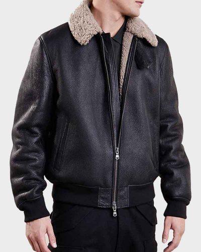 Mens Aviator Black Bomber Leather Jacket