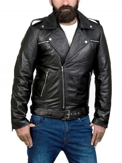 Men's Classic Motorcycle Black Leather Jacket