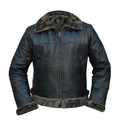 Men's B3 Raf Sheepskin Fur Shearling Black Leather Jacket