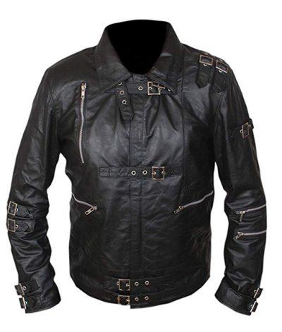 Michael Jackson Bad Mens Motorcycle Black Leather Jacket