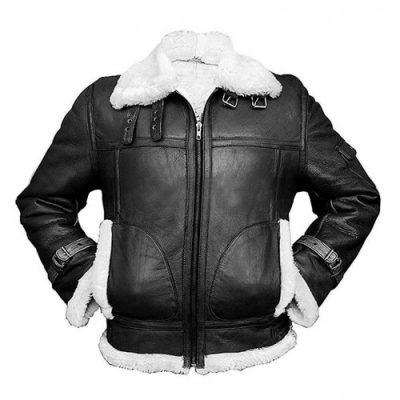 Mens Sheepskin Raf Aviator Pilot Fur Shearling Flying B3 Black Bomber Leather Jacket