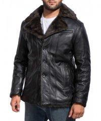 Black Fur Leather Jacket For Men
