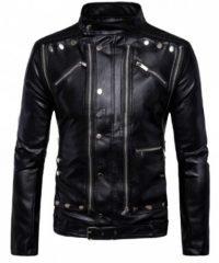 Men Cafe Racer Antique Classic Fashion Motorbike Black Leather Jacket